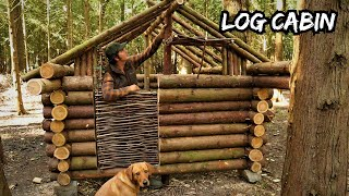 Building an Off-Grid Log Cabin in a Cedar Woodland using Hand Tools - Bushcraft Shelter Project ep.3
