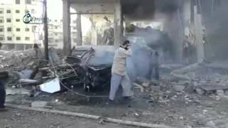 وكالة قاسيون الدفاع المدني يخمد حرائق اندلعت  جراء الغارات على كفربطنا بريف دمشق 4-12-2015
