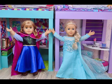 Setting Up American Girl Doll Frozen And Frozen 2 Loft Beds!