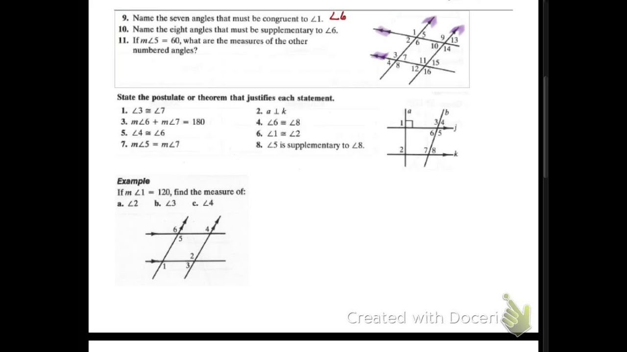 Properties of Parallel and Perpendicular Lines - SSAT Upper Level Math