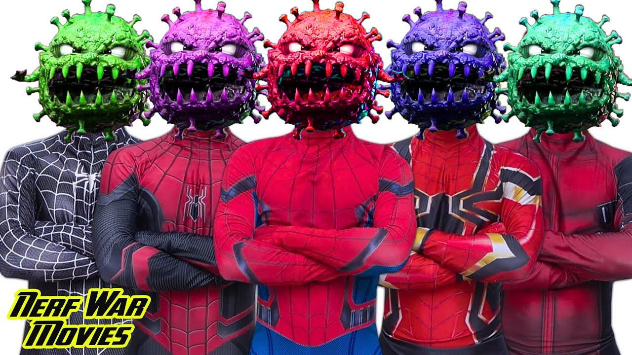Nerf War Movies: Spiderman X Warriors Nerf Guns Fight Criminal Group Wrong Head Top Superhero 잘못된 머리