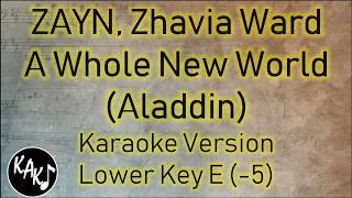 ZAYN, Zhavia Ward - A Whole New World Karaoke Lyrics Instrumental Cover Lower Key E