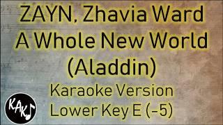 ZAYN, Zhavia Ward - A Whole New World Karaoke Lyrics Instrumental Cover Lower Key E