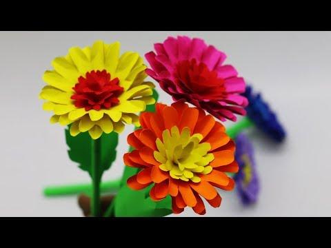 How to make Colorful Marigold PAPER flower - DIY Desk Decoration Ideas - paper Stick Flower