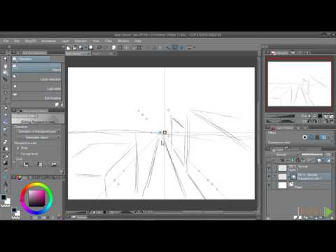Clip Studio Paint EX Fundamentals : One Point Perspective Ruler | packtpub.com