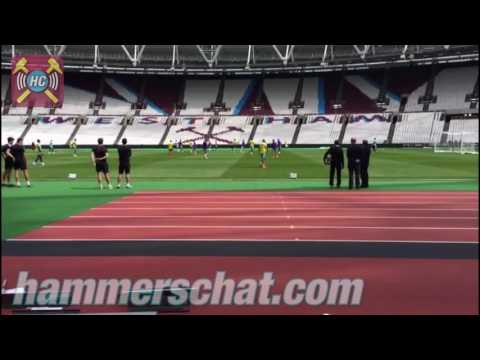 West Ham Train At The Olympic Stadium For The First Time