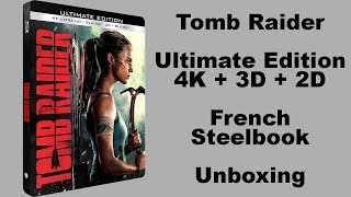 Tomb Raider Ultimate Edition 4K + 3D + 2D French Blu-ray Steelbook Unboxing