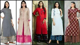 Stunning And Elegant Trendy Plazo With Stylish Long Kurti Dress Design Collection