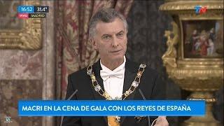 """M.Macri, en """"la cena de gala con los reyes de España"""", en """"TN"""", con Martínez y Salomone - 22/02/17"""