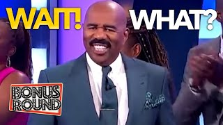 WAIT WHAT! OH Steve Harvey Knew These Contestants Would Have Some Good Answers On Family Feud!