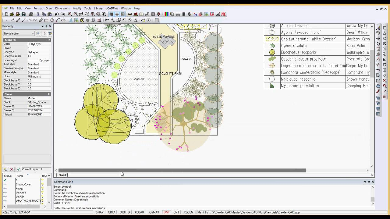 Using the smart label tool in landscape CAD designs