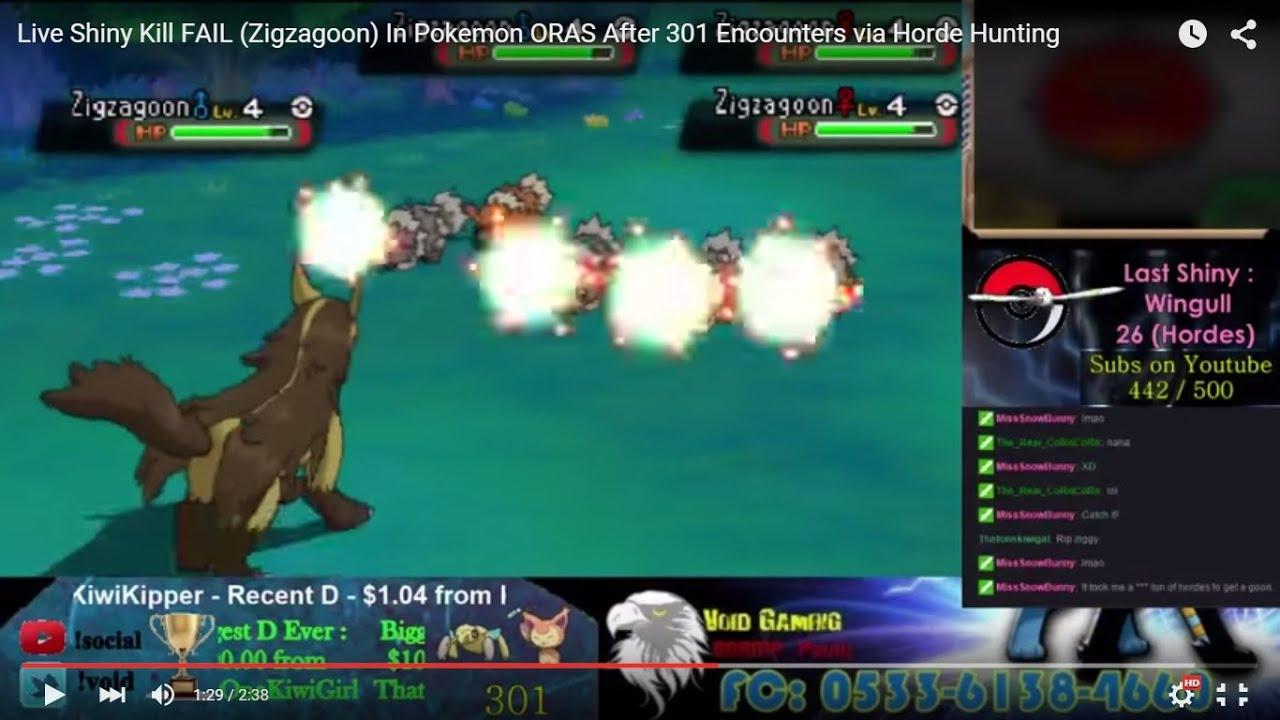 Live Shiny Kill Fail Zigzagoon In Pokemon Oras After 301