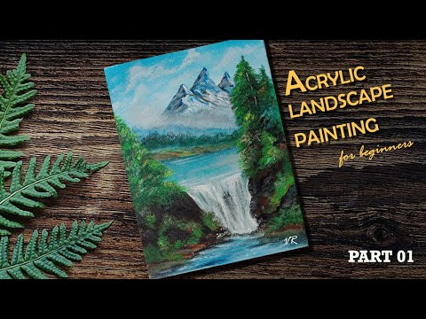 Acrylic landscape painting tutorial: PART 1 |Malayalam step by step tutorial for beginners