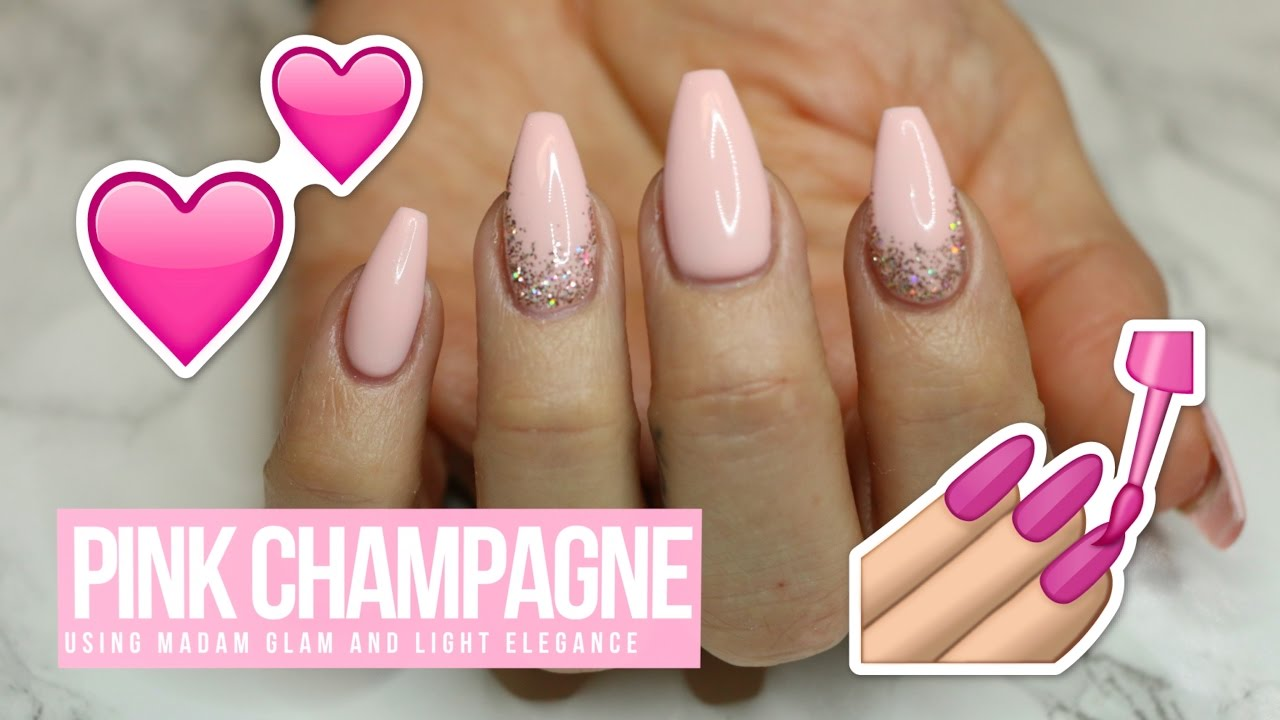 ACRYLIC/GEL NAIL DESIGN - TUTORIAL/HOW TO: PINK CHAMPAGNE - ACRYLIC/GEL NAIL DESIGN - TUTORIAL/HOW TO: PINK CHAMPAGNE - YouTube
