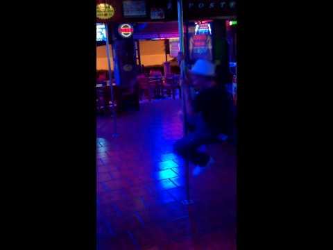 Tom Grace Pole Dancing in The SeaHorse Karaoke Bar, Ayia Napa Cyprus.