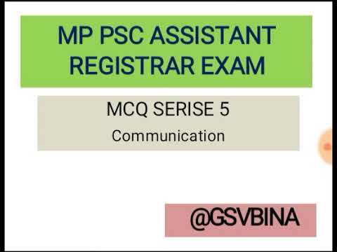 MPPSC Assistant Registrar MCQ Communication