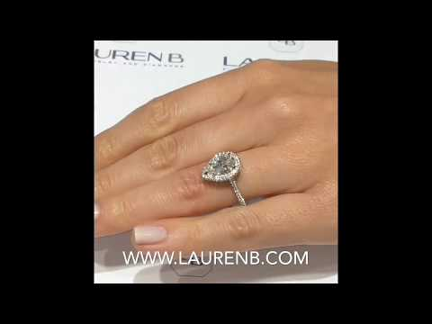 1.70 ct Pear Shape Diamond Halo Engagement Ring