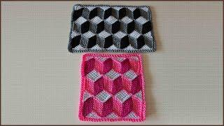 Коврик 3D. Коврик крючком. Тунисское вязание. Вязание коврика. Ч. 2 (3D rug. P. 2)