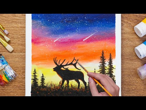 How to Paint Deer in the Magic Night –  Daily Art 110