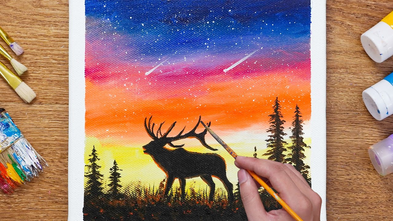 How to Paint Deer in the Magic Night -  Daily Art 110