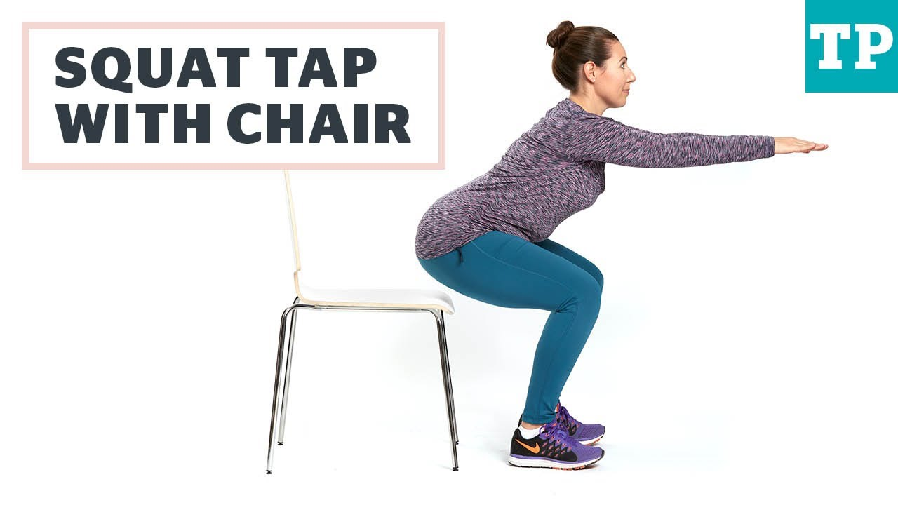 Squat Tap With Chair Exercise After C Section Youtube