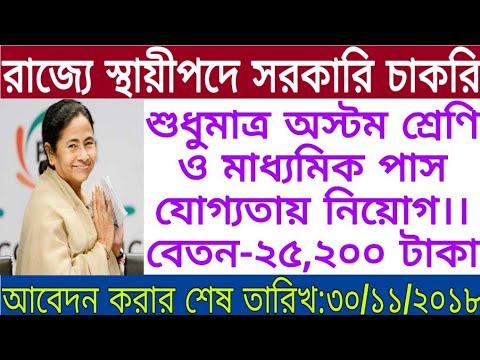 অস্টম শ্রেণি ও মাধ্যমিক পাসে স্থায়ীপদে নিয়োগ।।(West Bengal government job)।।