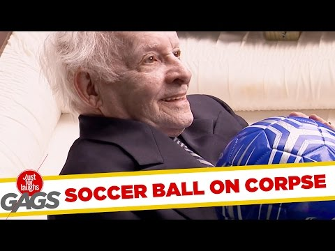 Football Lands in Man's Coffin Prank! - Just For Laughs Gags