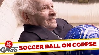 Football Lands in Mans Coffin Prank! - Just For Laughs Gags