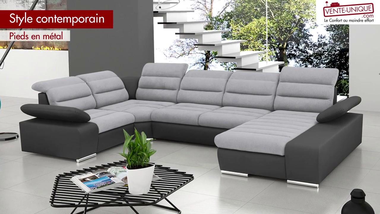 Canapé d angle convertible BOILEAU en tissu et simili