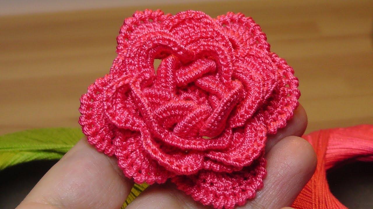как связать объёмную розу крючком Crochet Flowers The Roses Youtube