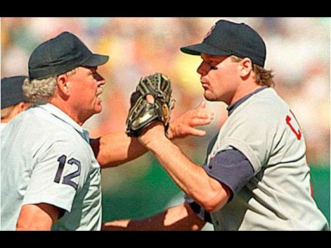 Roger Clemens ejected from playoff game 1990