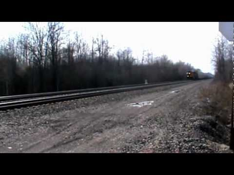 CSX East Bound Auto Rack Train Weedsport, NY 3/18/12 video 7 of 11 3:30p.m.