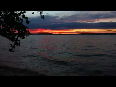 Sunset and waves on Pierce Lake, Saskatchewan