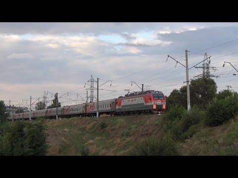 Электровоз ЭП1М-739 с поездом №198 Иркутск — Кисловодск