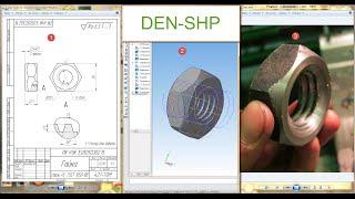 Компас 3D уроки - гайка с трапецеидальной резьбой (пробное видео) (UA)
