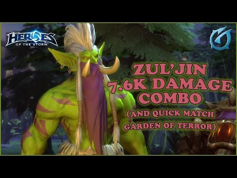 Grubby   Heroes of the Storm   Zul'jin 7.6K Damage Combo & Quick Match - Garden of Terror