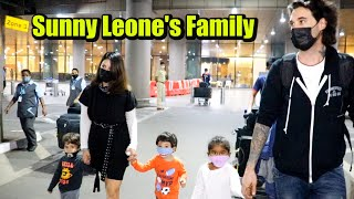 Sunny Leone With Her Three CUTE Kids & Husband Daniel Weber At The Airport
