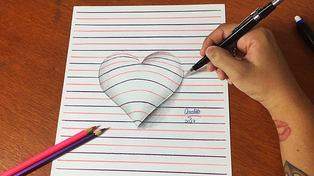 Como Desenhar Coração 3d Passo A Passo