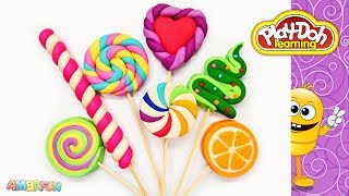 Learn Colors with Play Doh Lollipop . Surprise Toys. DIY How to Make Rainbow Lolly Candy Crafts
