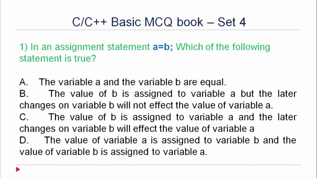 C and C++ MCQ Questions and Answers