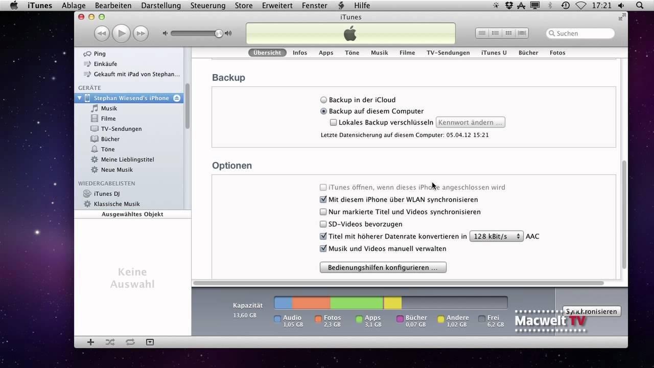 backup iphone auf macbook löschen