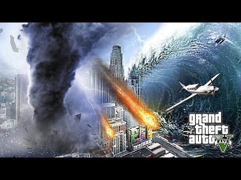 HUGE TORNADO METEOR AND TSUNAMI DESTROY LOS SANTOS - GTA 5 END OF LOS SANTOS APOCALYPSE MOD