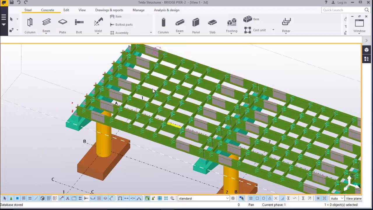 Bridge Deck Cast in place slab and shear studs placement in TEKLA  STRUCTURES 2016