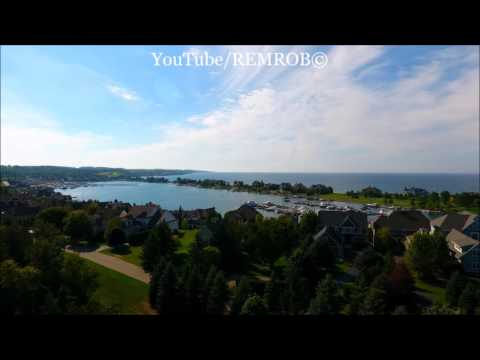 aerial-drone-view-of-bay-harbor,-mi