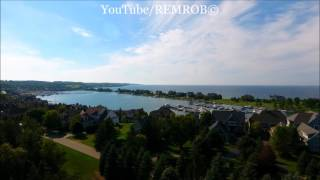 Aerial Drone View of Bay Harbor, MI