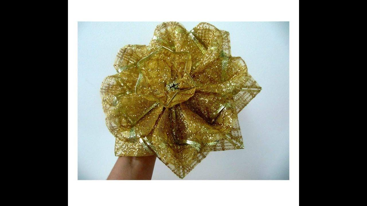 Mo os navide os flores de caramelo escarchadas en cintas - Cintas navidad para arbol ...
