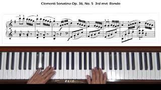 Clementi Sonatina In G Major Op 36 No 5 3rd Mvt Rondo Allegro Molto Piano Tutorial