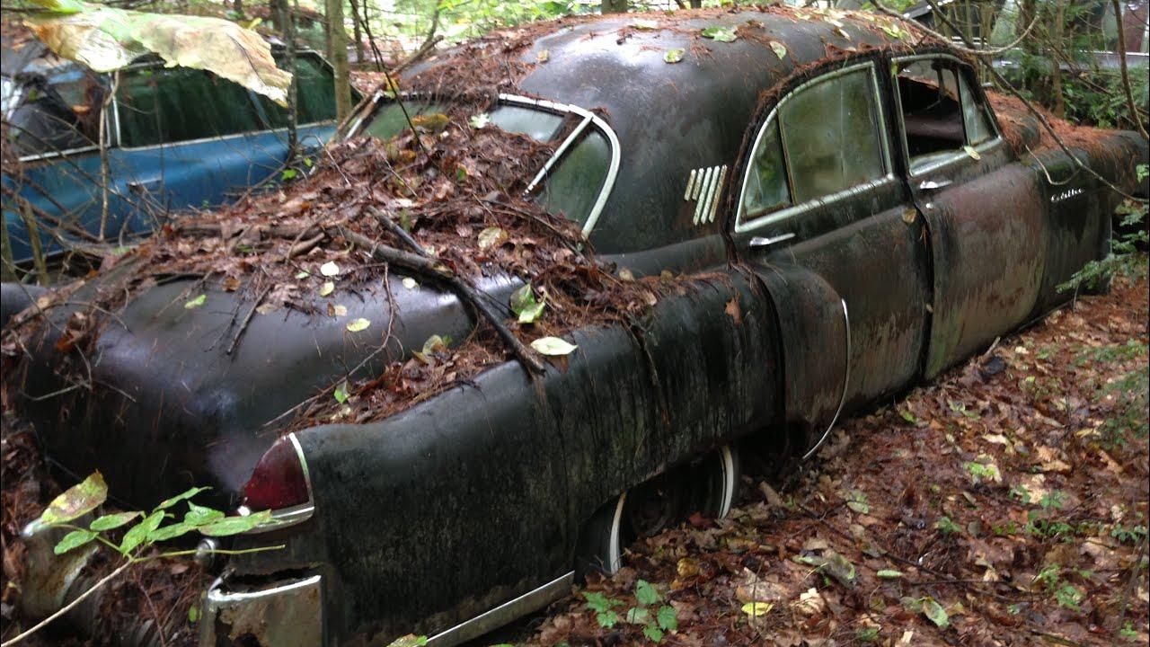 Classic Cadillac Graveyard walk through tour rusting away Adirondack Mountains junk yard abandoned