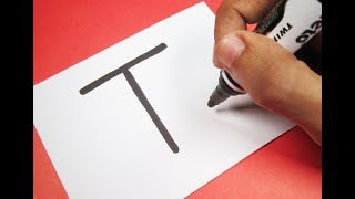 """How to turn Letter """"T"""" into a Cartoon Tongue Out EMOJI ! Fun with Alphabets Drawing for kids"""
