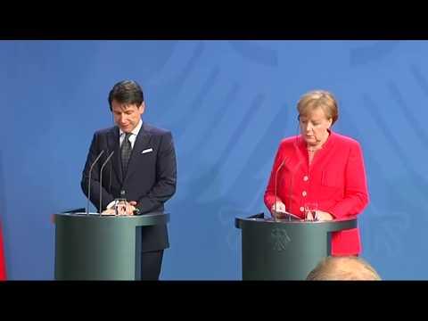 Berlino, dichiarazioni congiunte Conte - Merkel